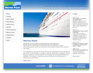 Marine Paints webbplats.